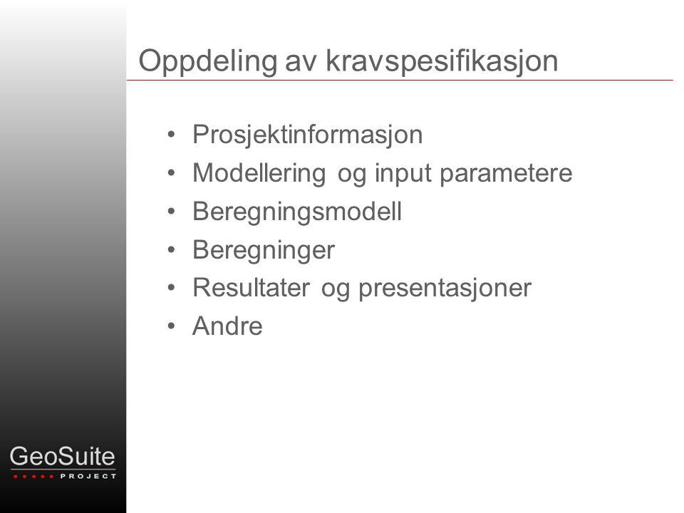 Oppdeling av kravspesifikasjon •Prosjektinformasjon •Modellering og input parametere •Beregningsmodell •Beregninger •Resultater og presentasjoner •Andre