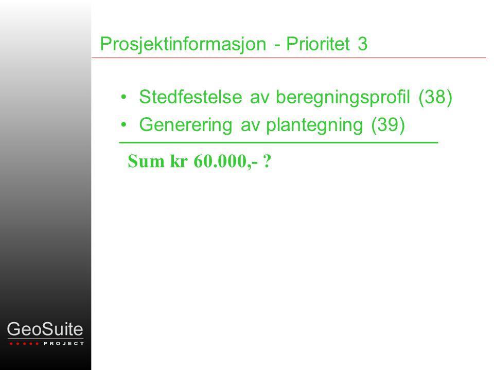 Prosjektinformasjon - Prioritet 3 •Stedfestelse av beregningsprofil (38) •Generering av plantegning (39) Sum kr 60.000,-