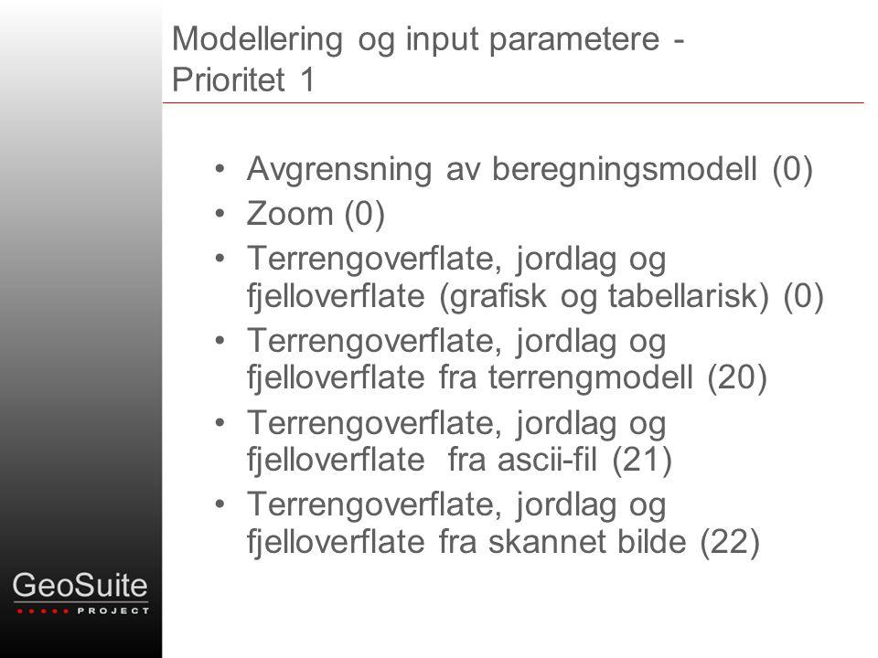 Modellering og input parametere - Prioritet 1 •Avgrensning av beregningsmodell (0) •Zoom (0) •Terrengoverflate, jordlag og fjelloverflate (grafisk og tabellarisk) (0) •Terrengoverflate, jordlag og fjelloverflate fra terrengmodell (20) •Terrengoverflate, jordlag og fjelloverflate fra ascii-fil (21) •Terrengoverflate, jordlag og fjelloverflate fra skannet bilde (22)