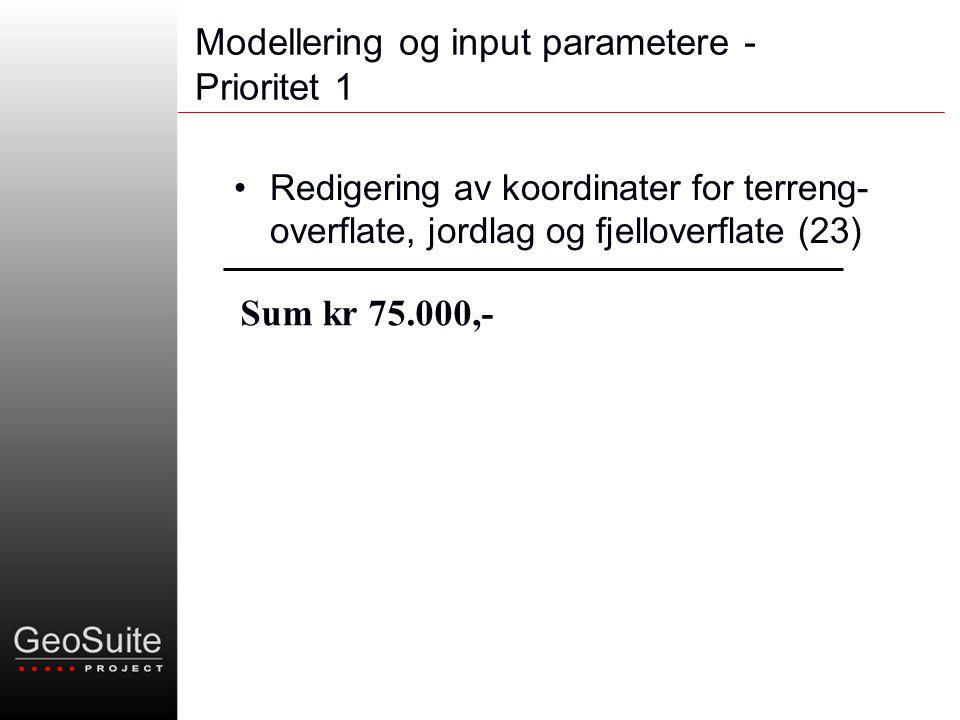 Modellering og input parametere - Prioritet 1 •Redigering av koordinater for terreng- overflate, jordlag og fjelloverflate (23) Sum kr 75.000,-