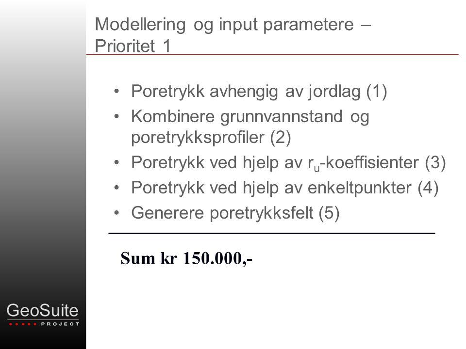 Modellering og input parametere – Prioritet 1 •Poretrykk avhengig av jordlag (1) •Kombinere grunnvannstand og poretrykksprofiler (2) •Poretrykk ved hjelp av r u -koeffisienter (3) •Poretrykk ved hjelp av enkeltpunkter (4) •Generere poretrykksfelt (5) Sum kr 150.000,-