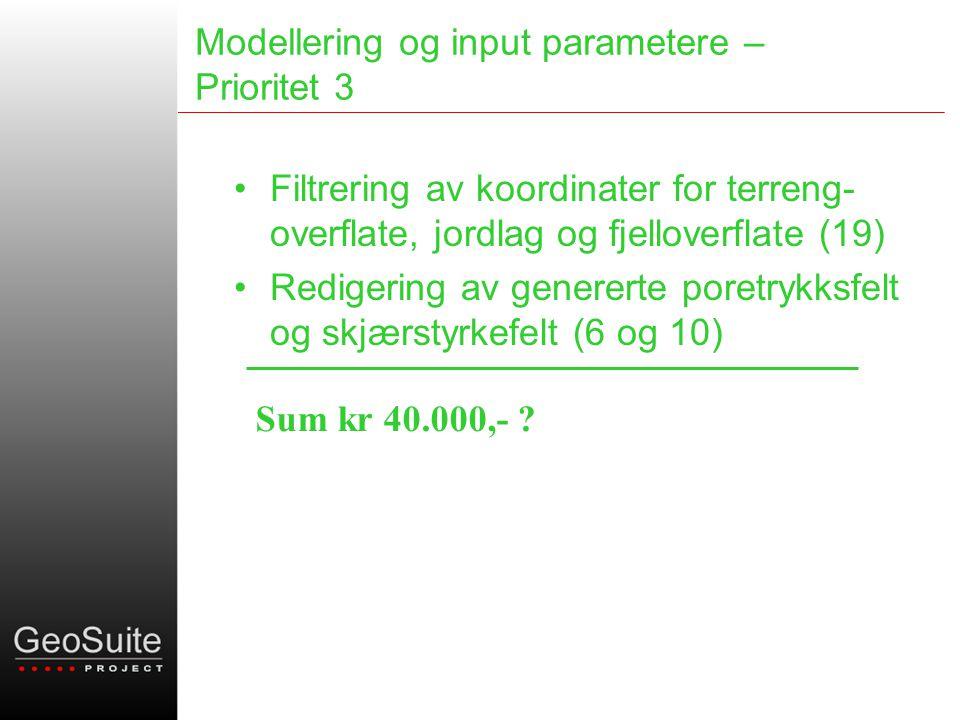Modellering og input parametere – Prioritet 3 •Filtrering av koordinater for terreng- overflate, jordlag og fjelloverflate (19) •Redigering av genererte poretrykksfelt og skjærstyrkefelt (6 og 10) Sum kr 40.000,-