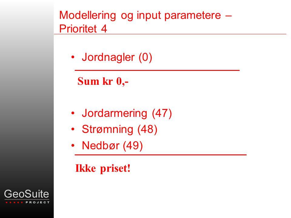 Modellering og input parametere – Prioritet 4 •Jordnagler (0) •Jordarmering (47) •Strømning (48) •Nedbør (49) Sum kr 0,- Ikke priset!