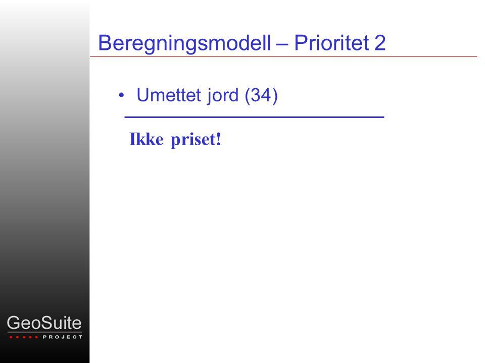 Beregningsmodell – Prioritet 2 •Umettet jord (34) Ikke priset!