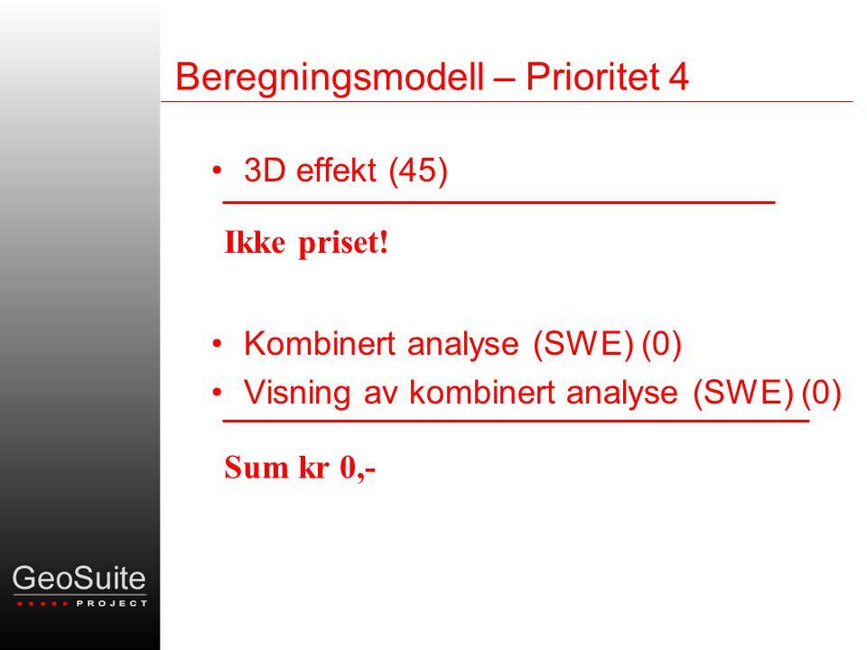 Beregningsmodell – Prioritet 4 •3D effekt (45) •Kombinert analyse (SWE) (0) •Visning av kombinert analyse (SWE) (0) Ikke priset.