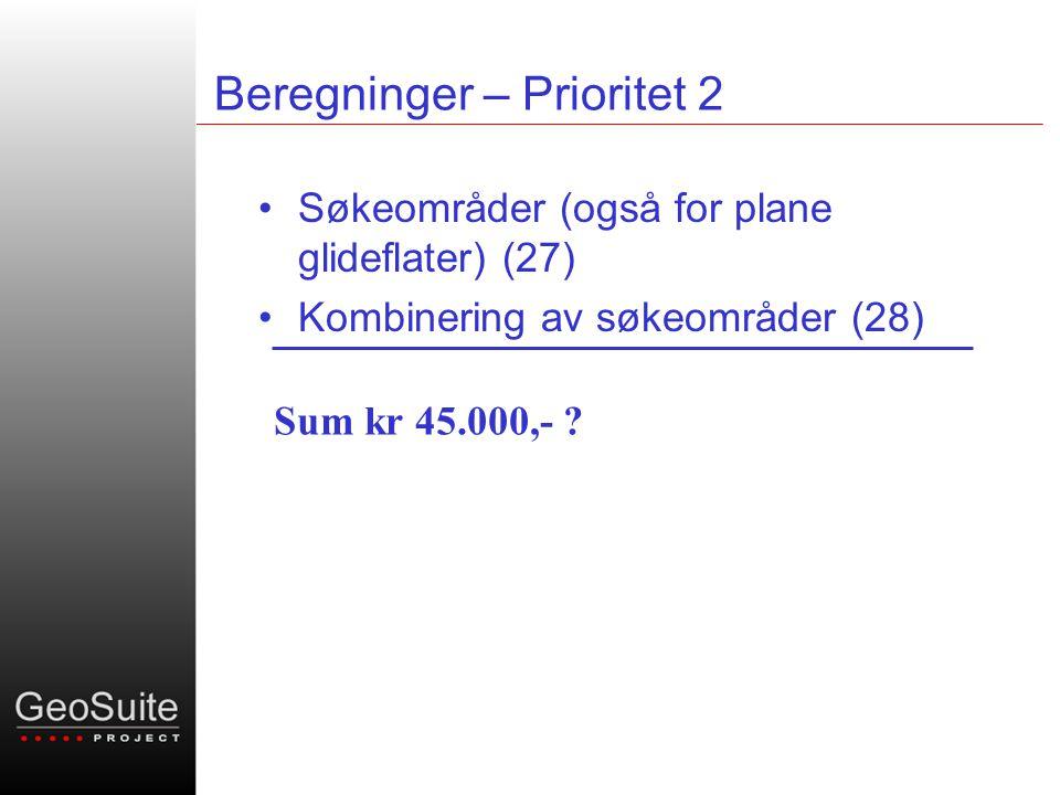 Beregninger – Prioritet 2 •Søkeområder (også for plane glideflater) (27) •Kombinering av søkeområder (28) Sum kr 45.000,-