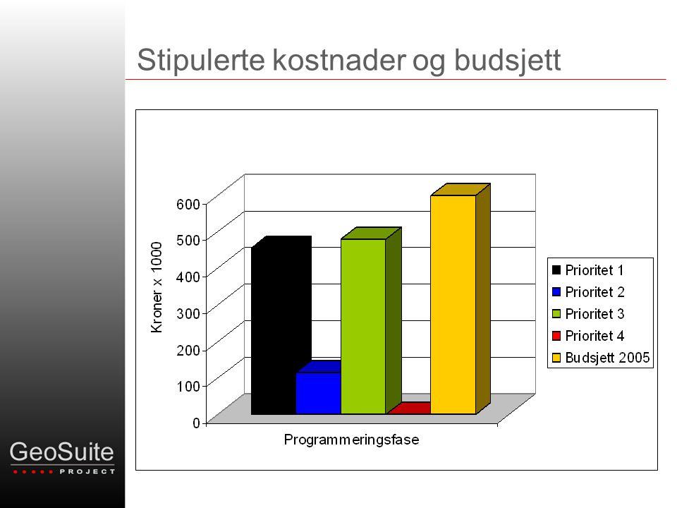Stipulerte kostnader og budsjett