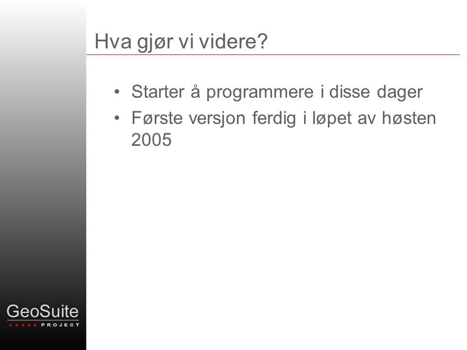 Hva gjør vi videre? •Starter å programmere i disse dager •Første versjon ferdig i løpet av høsten 2005