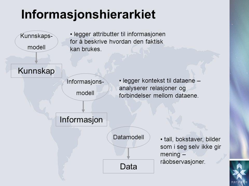 Data Informasjon Kunnskap Datamodell Informasjons- modell Kunnskaps- modell • tall, bokstaver, bilder som i seg selv ikke gir mening – råobservasjoner