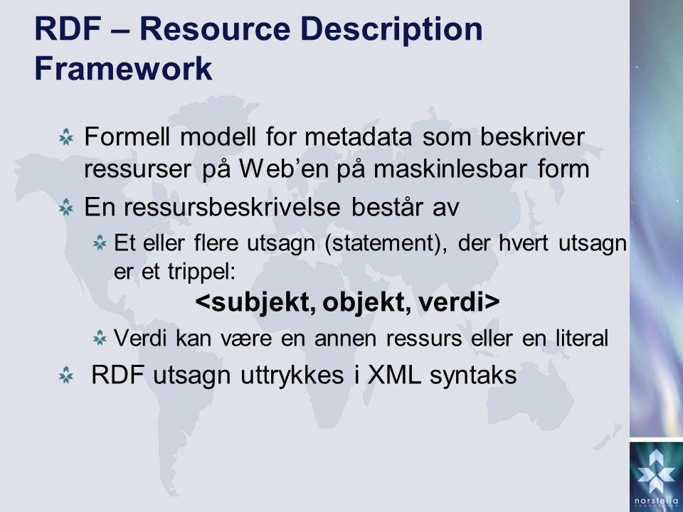 RDF – Resource Description Framework Formell modell for metadata som beskriver ressurser på Web'en på maskinlesbar form En ressursbeskrivelse består a