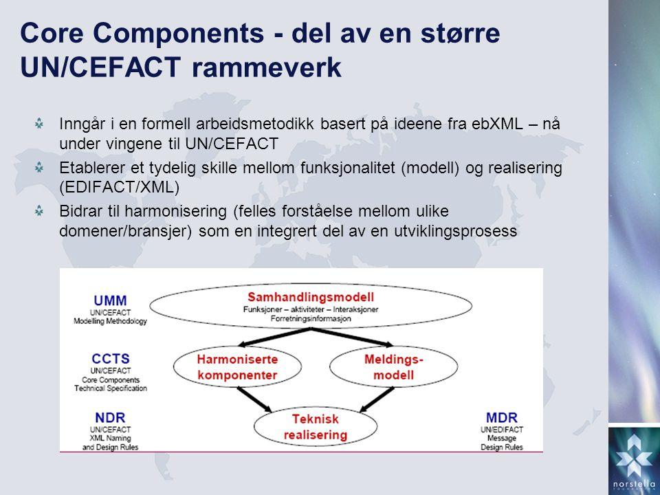 Core Components - del av en større UN/CEFACT rammeverk Inngår i en formell arbeidsmetodikk basert på ideene fra ebXML – nå under vingene til UN/CEFACT