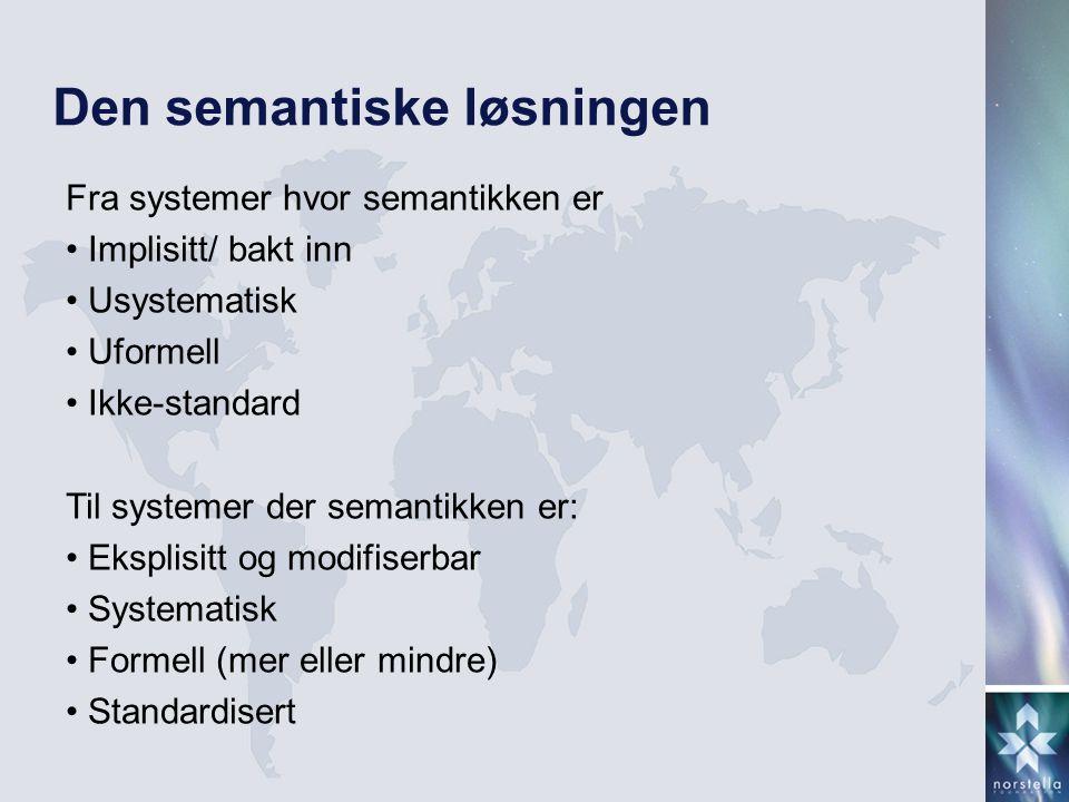 Den semantiske løsningen Fra systemer hvor semantikken er • Implisitt/ bakt inn • Usystematisk • Uformell • Ikke-standard Til systemer der semantikken
