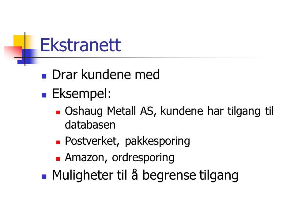 Ekstranett  Drar kundene med  Eksempel:  Oshaug Metall AS, kundene har tilgang til databasen  Postverket, pakkesporing  Amazon, ordresporing  Muligheter til å begrense tilgang