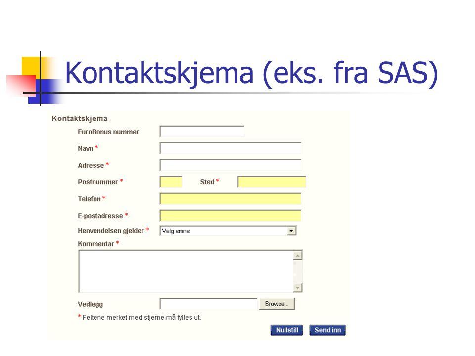 Kontaktskjema (eks. fra SAS)