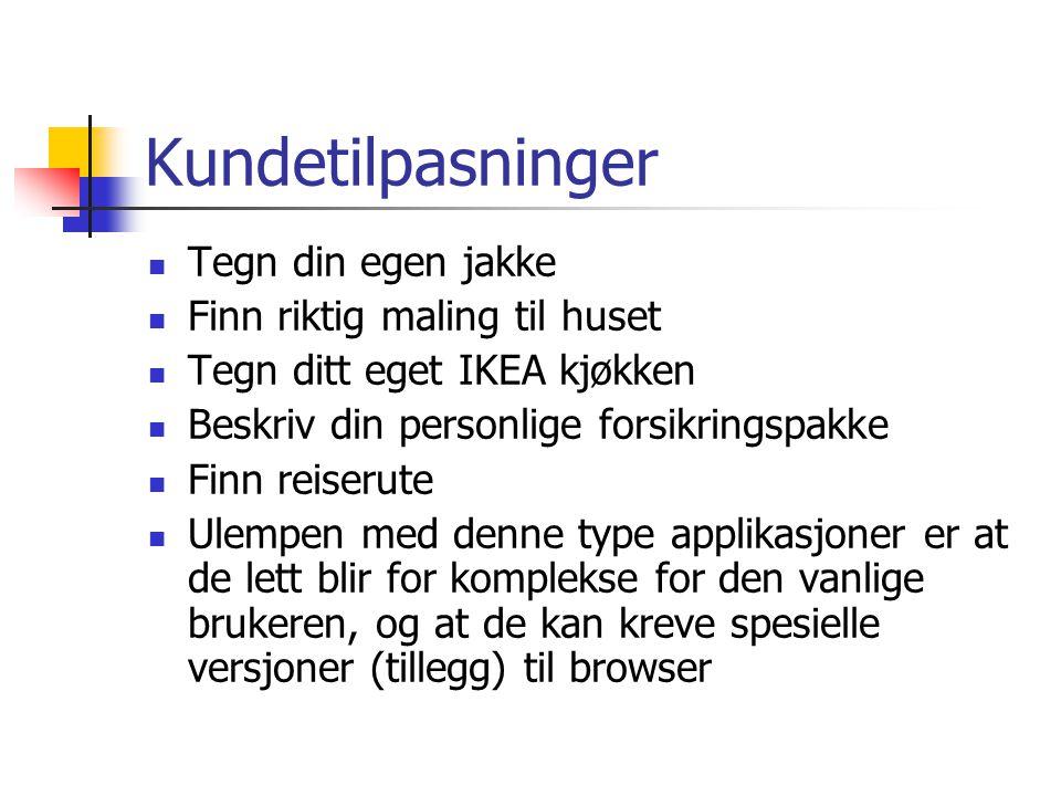 Kundetilpasninger  Tegn din egen jakke  Finn riktig maling til huset  Tegn ditt eget IKEA kjøkken  Beskriv din personlige forsikringspakke  Finn reiserute  Ulempen med denne type applikasjoner er at de lett blir for komplekse for den vanlige brukeren, og at de kan kreve spesielle versjoner (tillegg) til browser