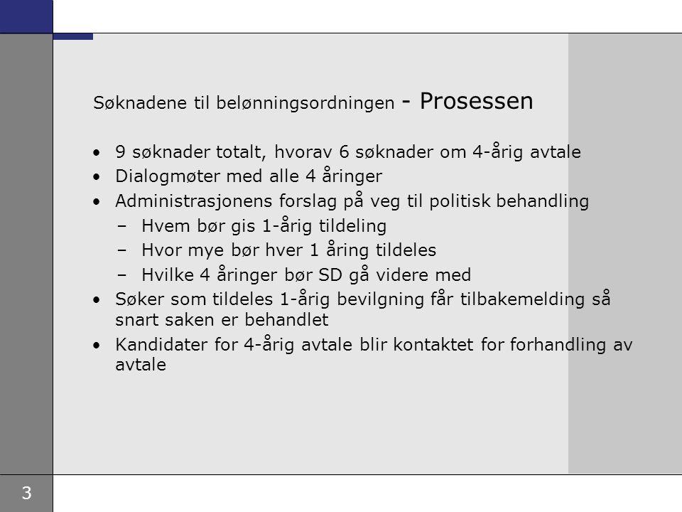 3 Søknadene til belønningsordningen - Prosessen •9 søknader totalt, hvorav 6 søknader om 4-årig avtale •Dialogmøter med alle 4 åringer •Administrasjon