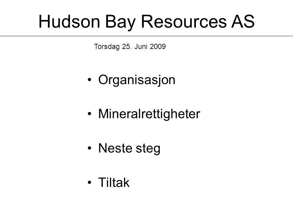 Hudson Bay Resources AS •Organisasjon •Mineralrettigheter •Neste steg •Tiltak Torsdag 25. Juni 2009