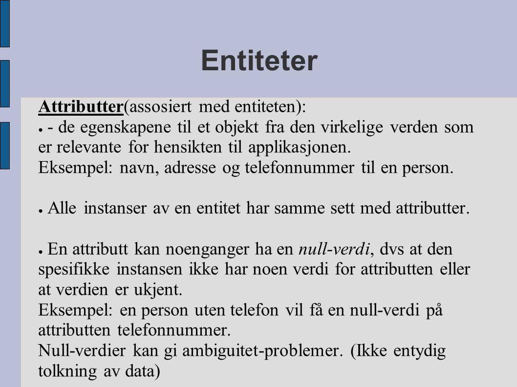 Entiteter Attributter(assosiert med entiteten): ● - de egenskapene til et objekt fra den virkelige verden som er relevante for hensikten til applikasjonen.