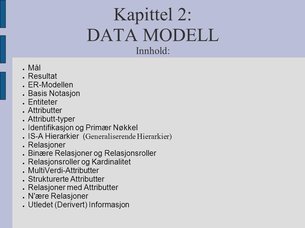 Kapittel 2: DATA MODELL Innhold: ● Mål ● Resultat ● ER-Modellen ● Basis Notasjon ● Entiteter ● Attributter ● Attributt-typer ● Identifikasjon og Primæ