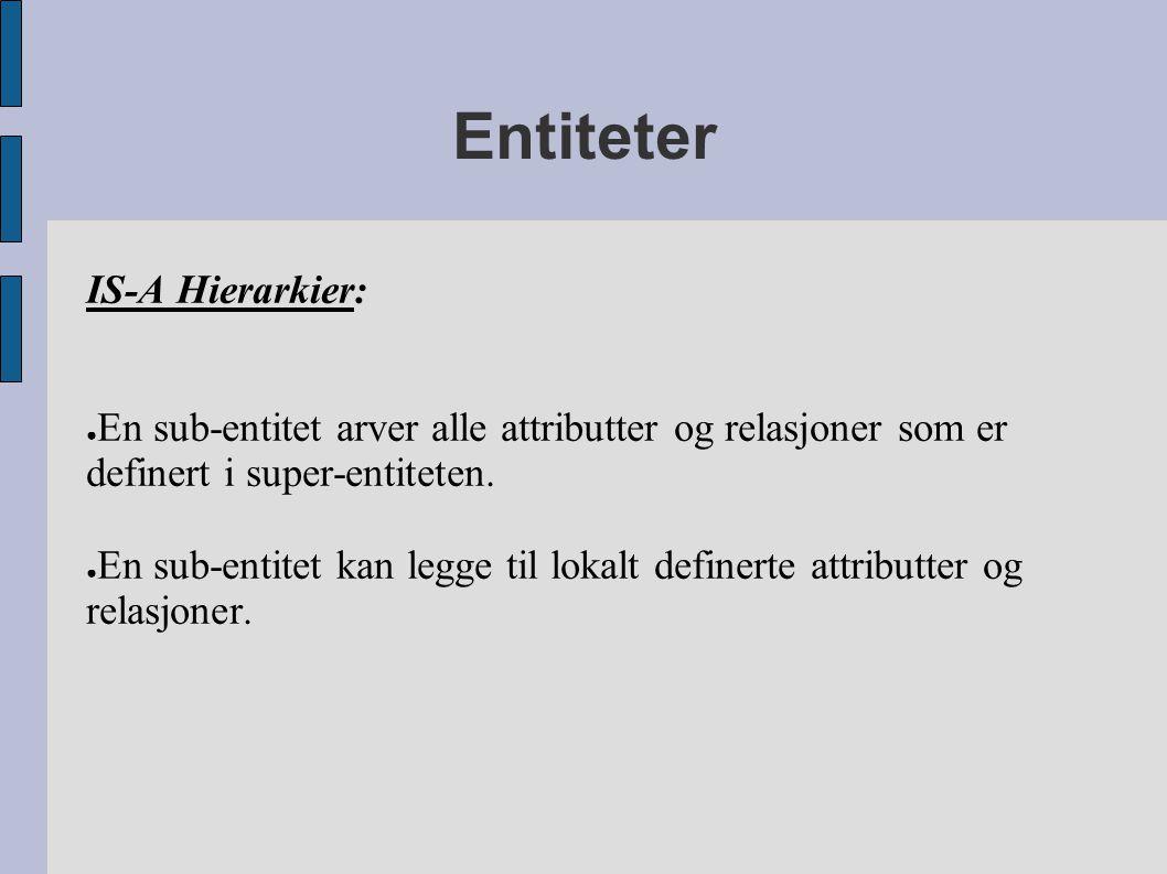 Entiteter IS-A Hierarkier: ● En sub-entitet arver alle attributter og relasjoner som er definert i super-entiteten. ● En sub-entitet kan legge til lok
