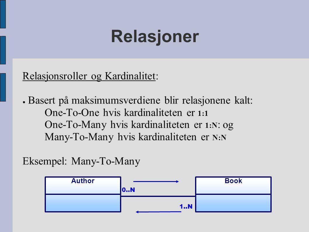 Relasjoner Relasjonsroller og Kardinalitet: ● Basert på maksimumsverdiene blir relasjonene kalt: One-To-One hvis kardinaliteten er 1:1 One-To-Many hvis kardinaliteten er 1:N : og Many-To-Many hvis kardinaliteten er N:N Eksempel: Many-To-Many BookAuthor 0..N 1..N