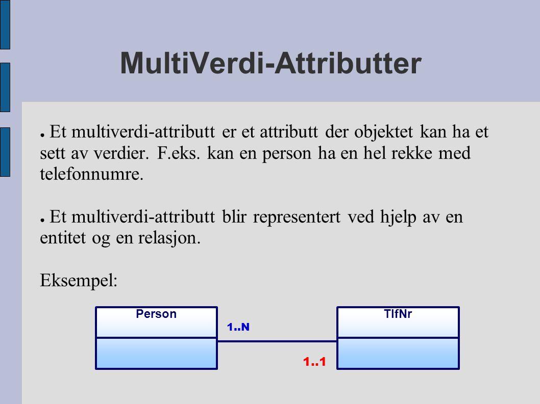 MultiVerdi-Attributter ● Et multiverdi-attributt er et attributt der objektet kan ha et sett av verdier. F.eks. kan en person ha en hel rekke med tele