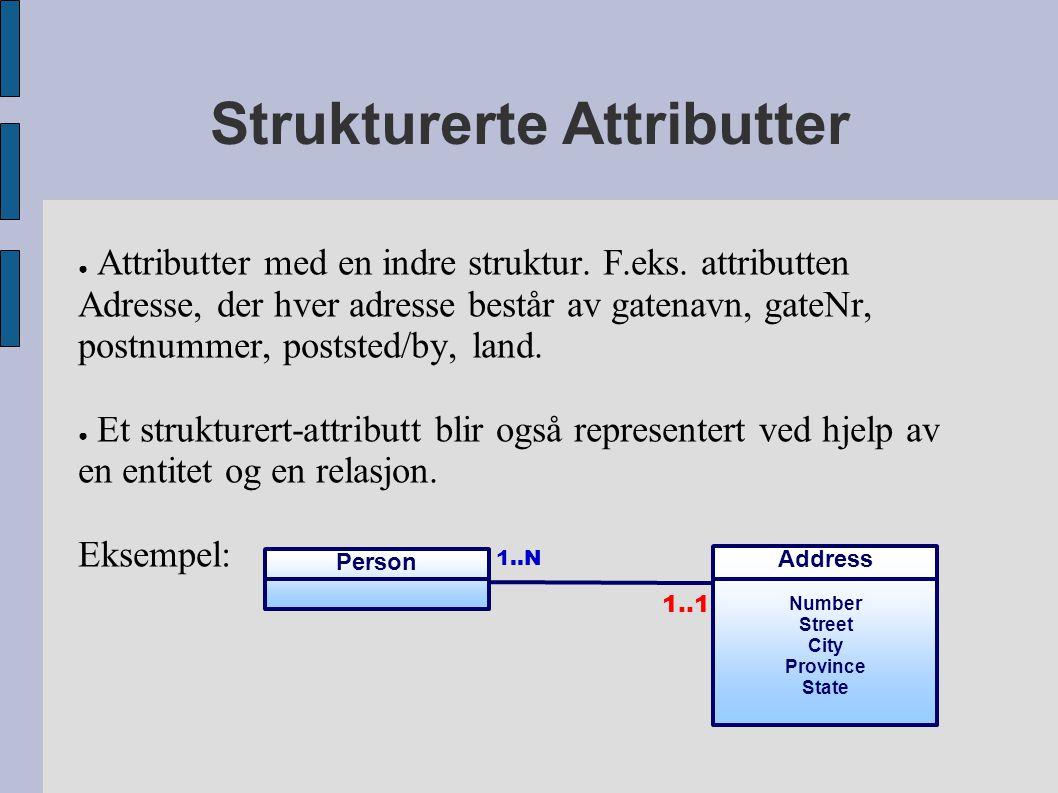 Strukturerte Attributter ● Attributter med en indre struktur.