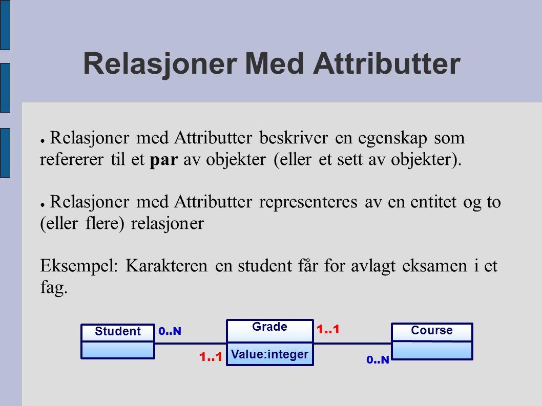 Relasjoner Med Attributter ● Relasjoner med Attributter beskriver en egenskap som refererer til et par av objekter (eller et sett av objekter). ● Rela