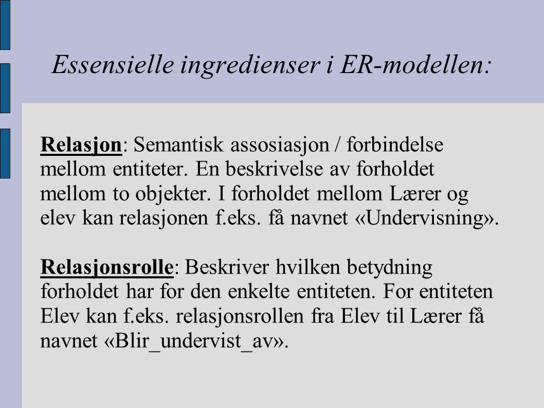 Essensielle ingredienser i ER-modellen: Relasjon: Semantisk assosiasjon / forbindelse mellom entiteter. En beskrivelse av forholdet mellom to objekter