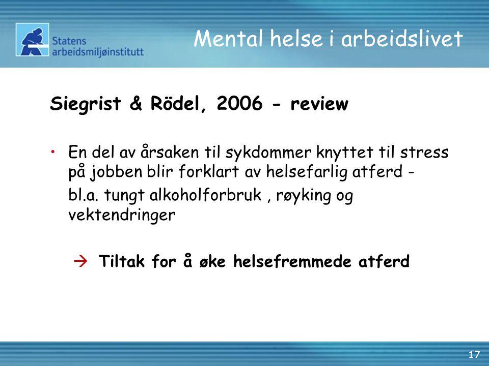 17 Mental helse i arbeidslivet Siegrist & Rödel, 2006 - review •En del av årsaken til sykdommer knyttet til stress på jobben blir forklart av helsefar