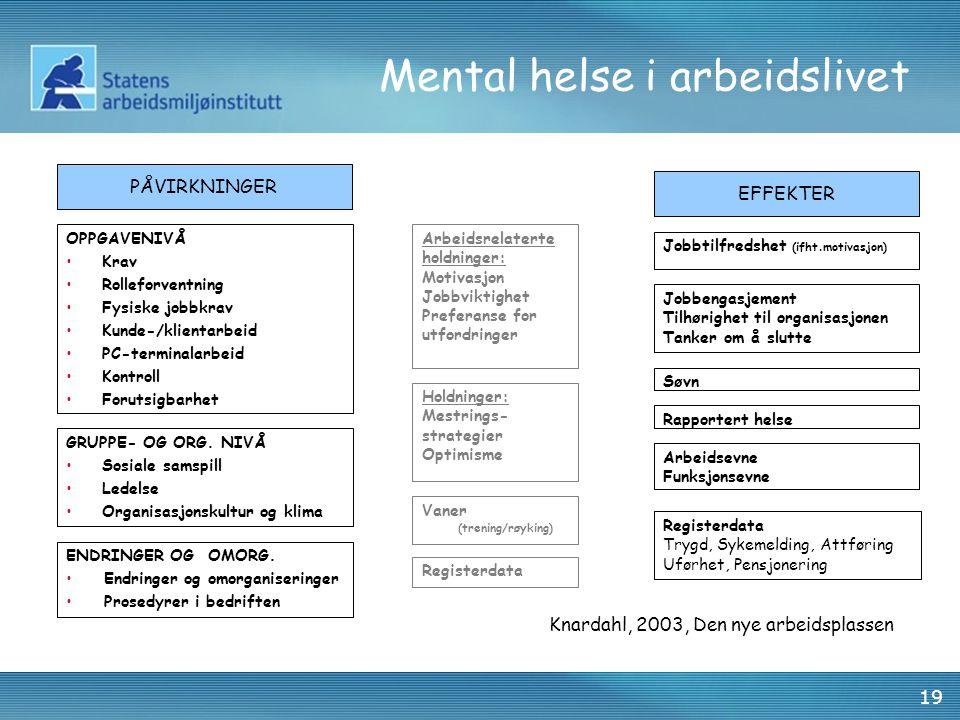 19 Mental helse i arbeidslivet OPPGAVENIVÅ •Krav •Rolleforventning •Fysiske jobbkrav •Kunde-/klientarbeid •PC-terminalarbeid •Kontroll •Forutsigbarhet