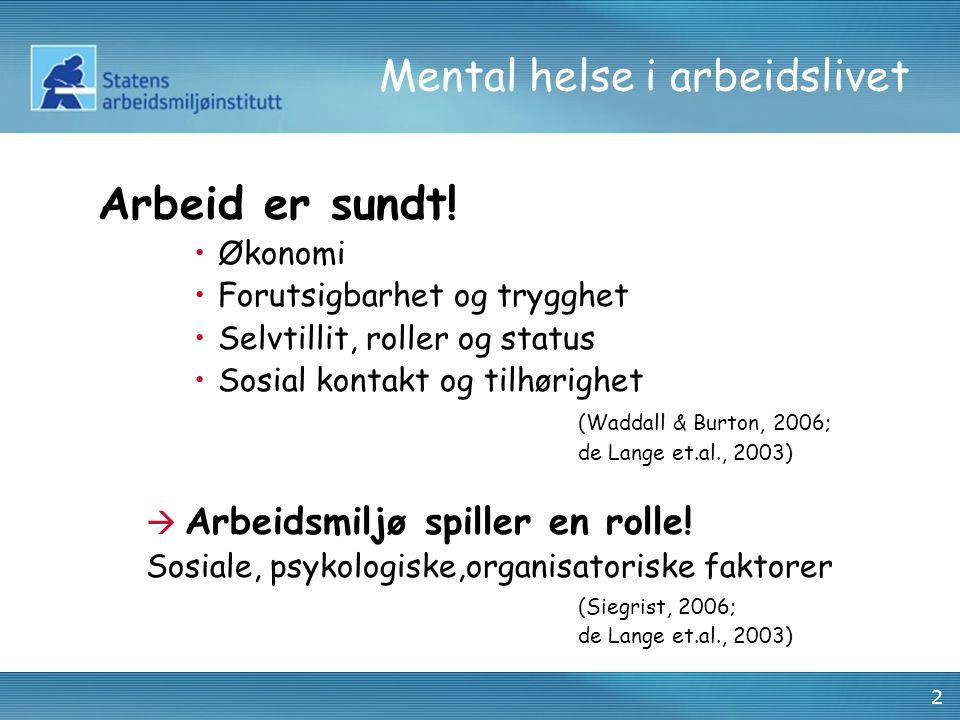 2 Mental helse i arbeidslivet Arbeid er sundt! •Økonomi •Forutsigbarhet og trygghet •Selvtillit, roller og status •Sosial kontakt og tilhørighet (Wadd