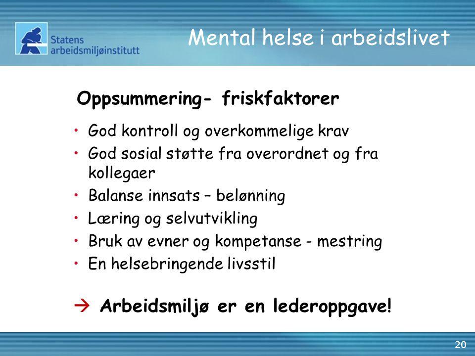 20 Mental helse i arbeidslivet •God kontroll og overkommelige krav •God sosial støtte fra overordnet og fra kollegaer •Balanse innsats – belønning •Læ