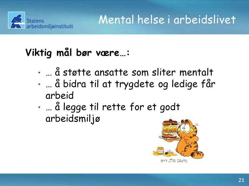 21 Mental helse i arbeidslivet Viktig mål bør være…: • … å støtte ansatte som sliter mentalt • … å bidra til at trygdete og ledige får arbeid • … å le