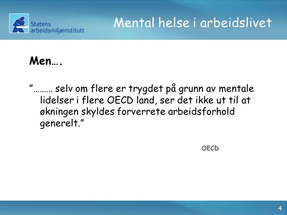 """4 Mental helse i arbeidslivet Men…. """"……… selv om flere er trygdet på grunn av mentale lidelser i flere OECD land, ser det ikke ut til at økningen skyl"""