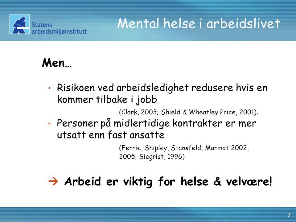 7 Mental helse i arbeidslivet Men… • Risikoen ved arbeidsledighet redusere hvis en kommer tilbake i jobb (Clark, 2003; Shield & Wheatley Price, 2001).