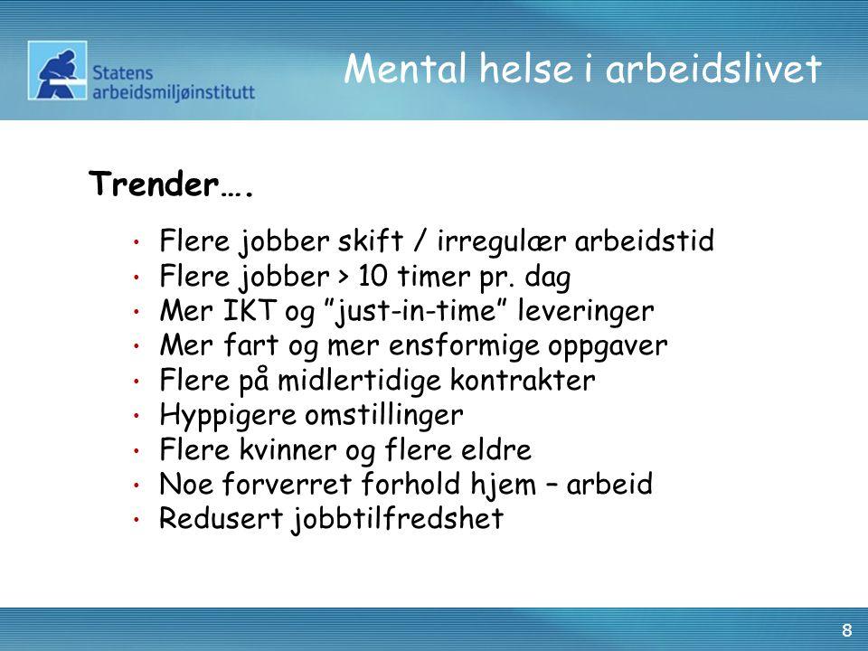 """8 Mental helse i arbeidslivet Trender…. • Flere jobber skift / irregulær arbeidstid • Flere jobber > 10 timer pr. dag • Mer IKT og """"just-in-time"""" leve"""