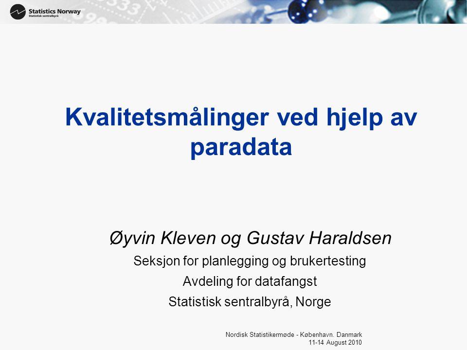 1 Nordisk Statistikermøde - København.