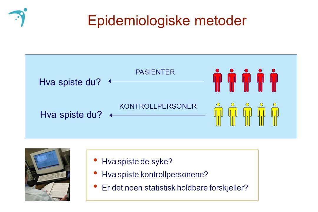 Epidemiologiske metoder • Hva spiste de syke? • Hva spiste kontrollpersonene? • Er det noen statistisk holdbare forskjeller? Hva spiste du? PASIENTER