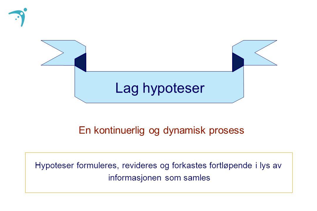 Lag hypoteser Hypoteser formuleres, revideres og forkastes fortløpende i lys av informasjonen som samles En kontinuerlig og dynamisk prosess