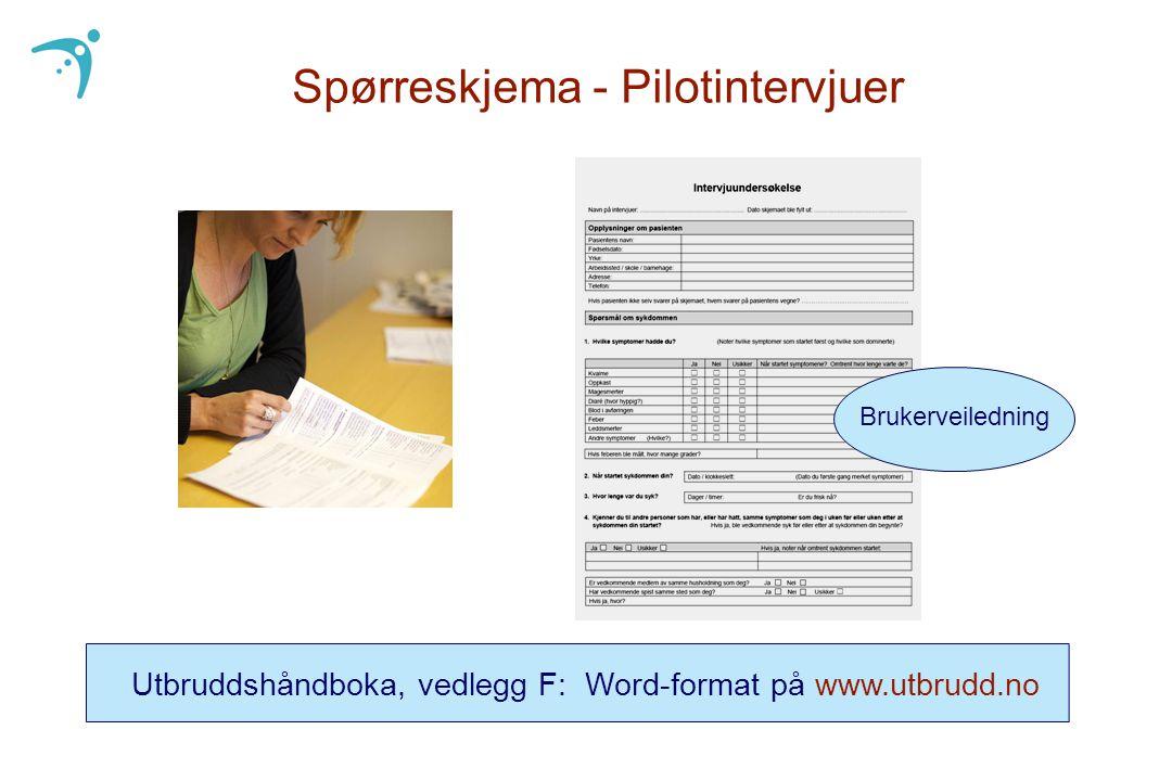 Spørreskjema - Pilotintervjuer Utbruddshåndboka, vedlegg F: Word-format på www.utbrudd.no Brukerveiledning