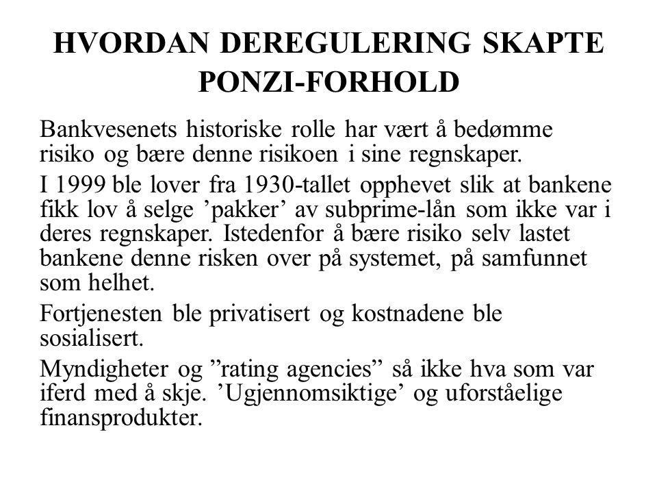 HVORDAN DEREGULERING SKAPTE PONZI-FORHOLD Bankvesenets historiske rolle har vært å bedømme risiko og bære denne risikoen i sine regnskaper. I 1999 ble