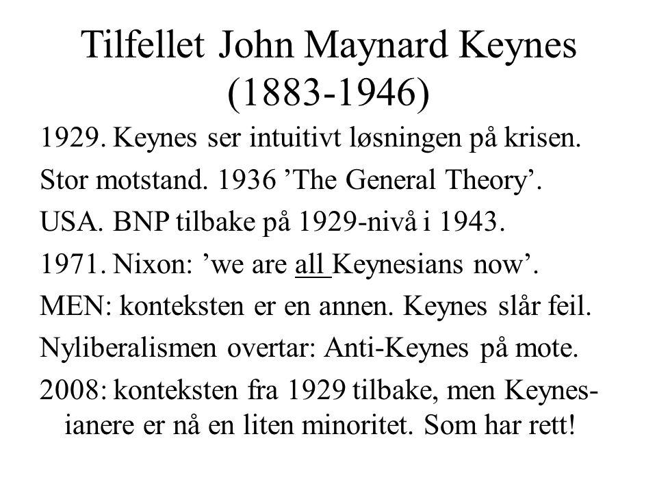 Tilfellet John Maynard Keynes (1883-1946) 1929. Keynes ser intuitivt løsningen på krisen. Stor motstand. 1936 'The General Theory'. USA. BNP tilbake p