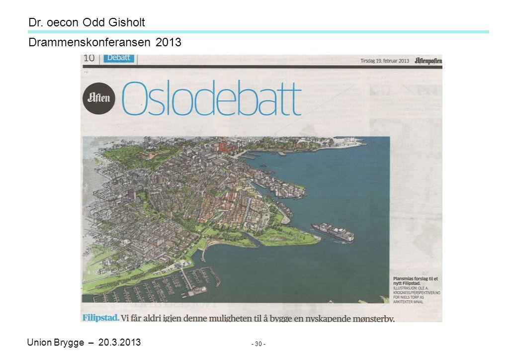 Union Brygge – 20.3.2013 Drammenskonferansen 2013 Dr. oecon Odd Gisholt - 30 -