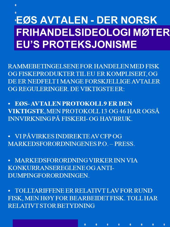 EØS AVTALEN - DER NORSK FRIHANDELSIDEOLOGI MØTER EU'S PROTEKSJONISME •HAR VI NOEN FORDELER SOM EØS- MEDLEM I FORHOLD TIL SÅKALTE TREDJELAND.