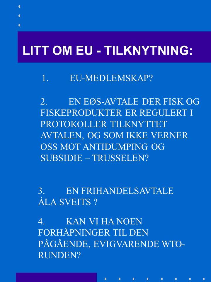 1.LITT OM EU-TILKNYTNING, OG P.O.'ENES PLASSERING I DET HANDELSPOLITISKE MINEFELTET.