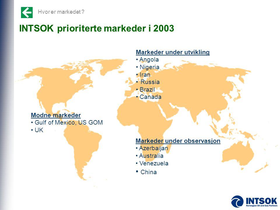 INTSOK prioriterte markeder i 2003 Markeder under utvikling • Angola • Nigeria • Iran • Russia • Brazil • Canada Modne markeder • Gulf of Mexico, US G