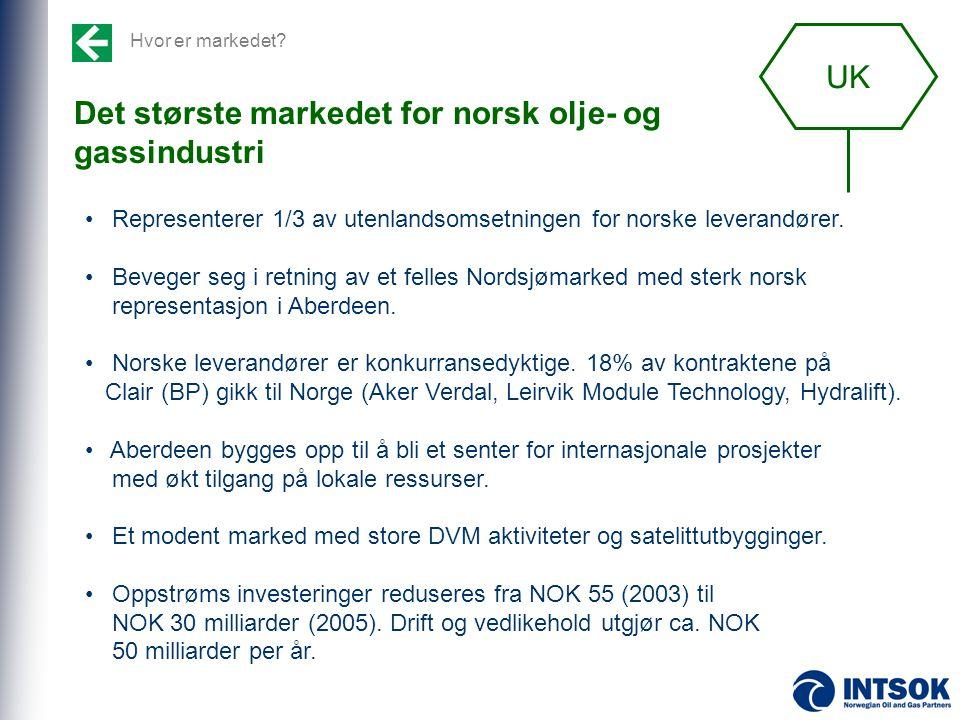 Det største markedet for norsk olje- og gassindustri • Representerer 1/3 av utenlandsomsetningen for norske leverandører. • Beveger seg i retning av e