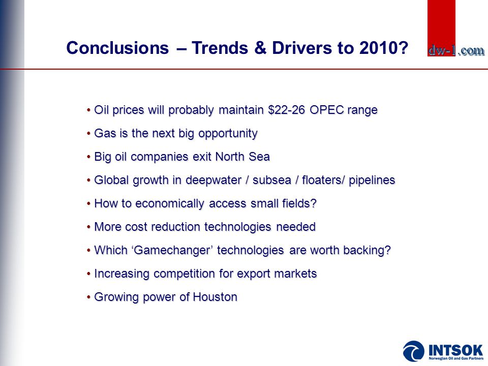 • Oil prices will probably maintain $22-26 OPEC range • Gas is the next big opportunity • Big oil companies exit North Sea • Global growth in deepwate