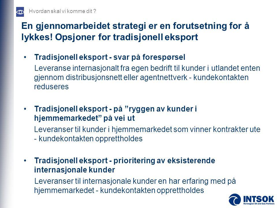 En gjennomarbeidet strategi er en forutsetning for å lykkes! Opsjoner for tradisjonell eksport Hvordan skal vi komme dit ? •Tradisjonell eksport - sva